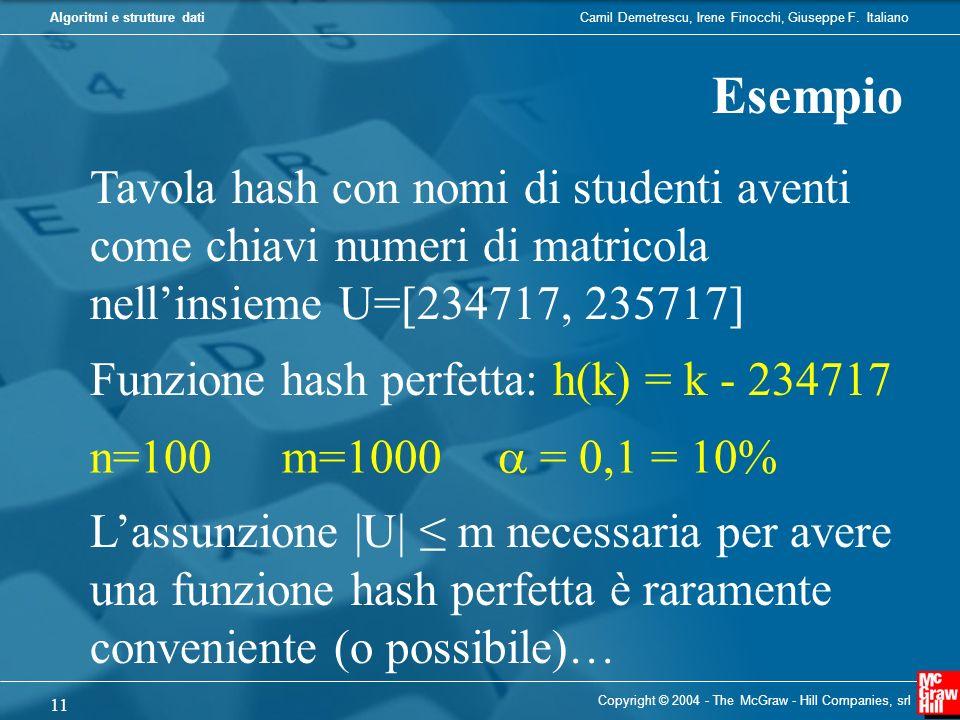 Esempio Tavola hash con nomi di studenti aventi come chiavi numeri di matricola nell'insieme U=[234717, 235717]